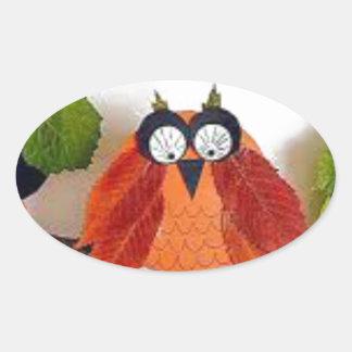 Little Fall Owl Oval Sticker