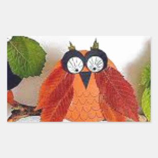 Little Fall Owl Rectangular Sticker