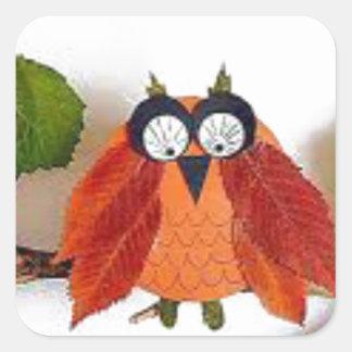 Little Fall Owl Square Sticker