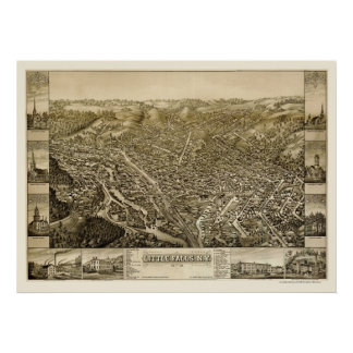 Little Falls, NY Panoramic Map - 1881 Poster