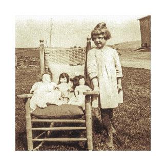 Little Farm Girl in Pennsylvania & Dollies Vintage Canvas Print