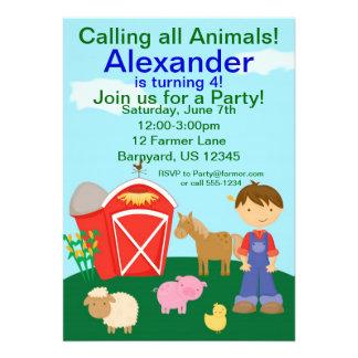 Little Farmer Boy Birthday Party Invitation