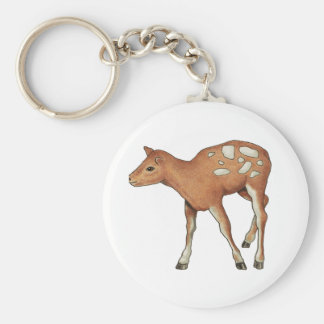 Little Fawn, Deer: Original Color Pencil Art Basic Round Button Keychain
