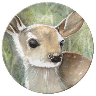 Little Fawn Deer Wildlife Watercolor Art Porcelain Plates