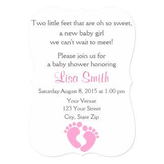 Little Feet Baby Girl Shower Invitation