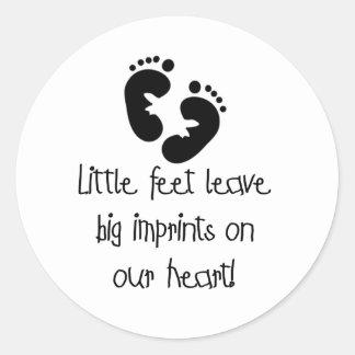 Little Feet Big Imprints Black Classic Round Sticker