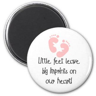 Little Feet Big Imprints Pink Fridge Magnet
