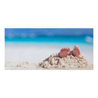 Little feet covered with sand poster