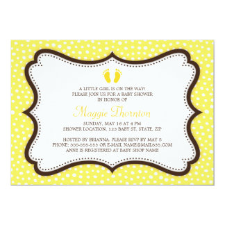 Little feet footprint yellow and brown baby shower card
