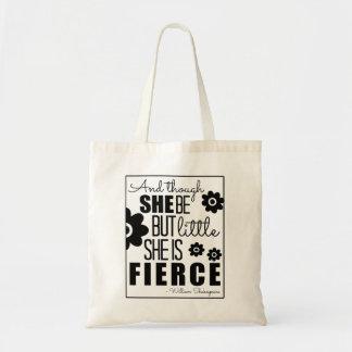 Little & Fierce - Black & White Budget Tote Bag