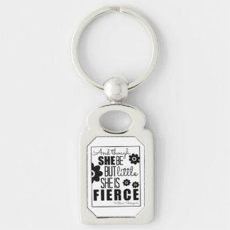 Little & Fierce - Black & White Silver-Colored Rectangular Metal Keychain