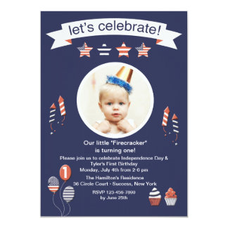 Little Firecracker Photo Invitation