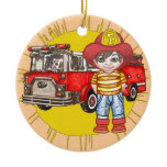 Little Firefighter Ceramic Ornament