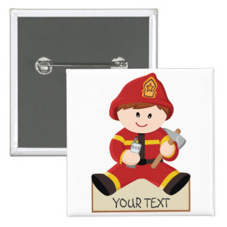 little firefighter fireman 2 inch square button