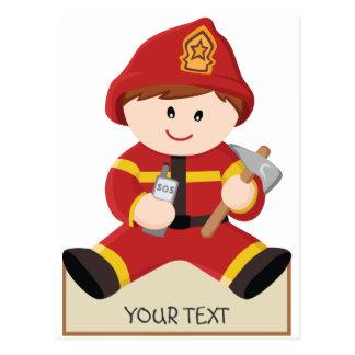 little firefighter fireman postcard
