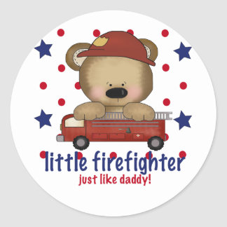 Little Firefighter Just Like Daddy Classic Round Sticker