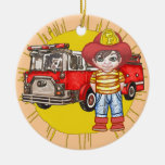 Little Firefighter Double-Sided Ceramic Round Christmas Ornament