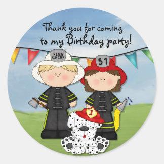 Little Fireman Birthday - Customize Classic Round Sticker