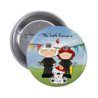 Little Fireman Birthday - Customize Pinback Button