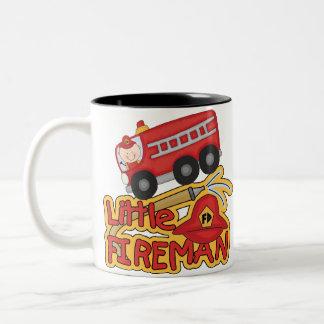 Little Fireman, Caucasian Two-Tone Coffee Mug