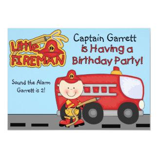 Little Fireman Custom Fire Truck Birthday Card