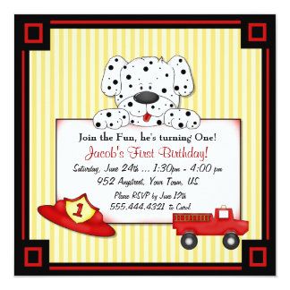 "Little Fireman First Birthday 5.25"" Square Invitation Card"