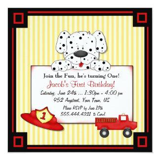 Little Fireman First Birthday 5.25x5.25 Square Paper Invitation Card