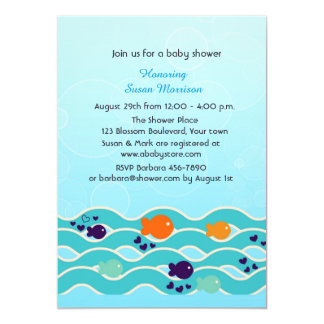 Little Fish, Baby Shower 5x7 Paper Invitation Card