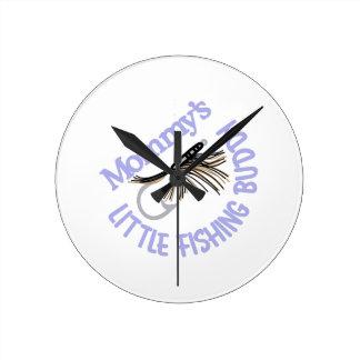 Little Fishing Buddy Round Clock