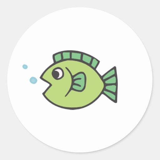 Little Fishy Round Stickers