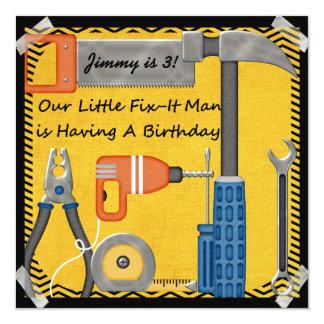 Little Fix-It Man Custom Birthday Invitations