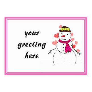 Little Flirty Sweetheart  Snowman Business Card Templates