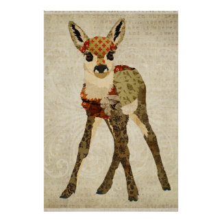 Little Floral Fawn Art Poster