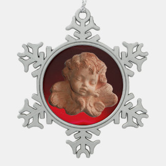 LITTLE FLORENTINE ANGEL Red Ruby Gem Stone Snowflake Pewter Christmas Ornament