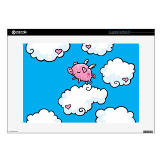 """Little Flying Pig dances on clouds 15"""" Laptop Decals"""