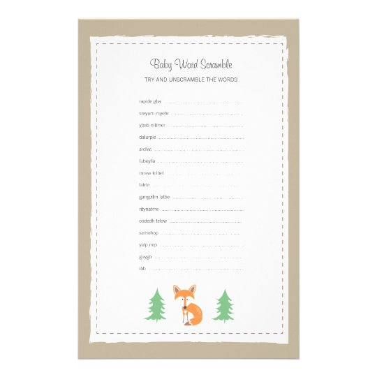 Little Fox Baby Word Scramble Game Stationery