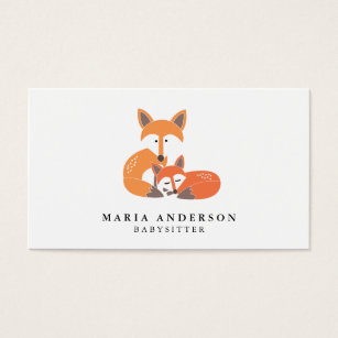 Babysitter business cards templates zazzle little fox babysitter business cards fbccfo Image collections