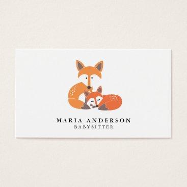 Professional Business Little Fox Babysitter Business Cards