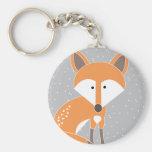 Little Fox Basic Round Button Keychain