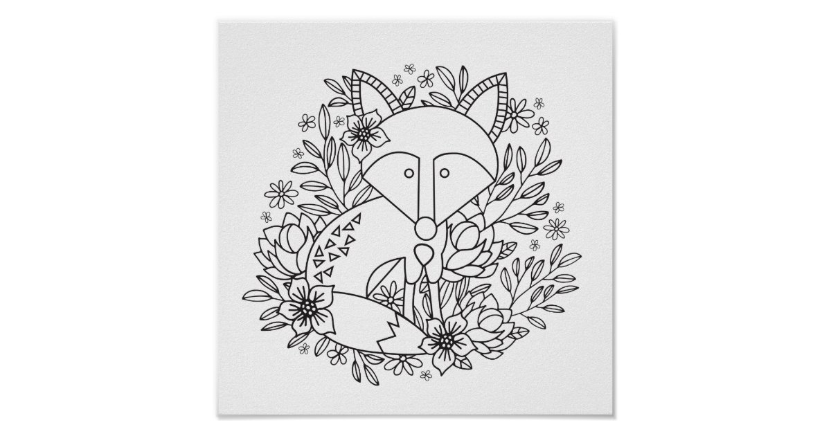 Little Fox Coloring Page Poster | Zazzle.com