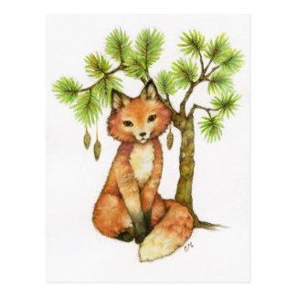Little Fox - Cute Animal Art Postcard
