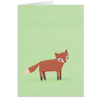 little fox cute woodland creature on green card