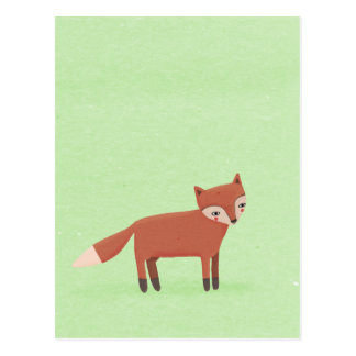little fox cute woodland creature on green postcard