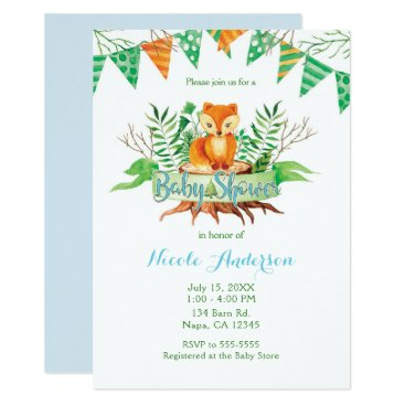 Beach Themed Little Fox in the Forest Watercolor Baby Shower Card