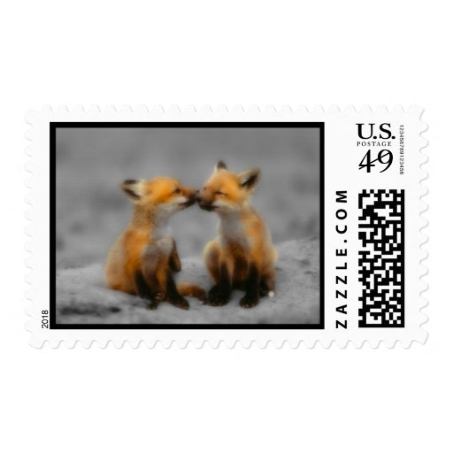 Little Fox Love Postage Stamps