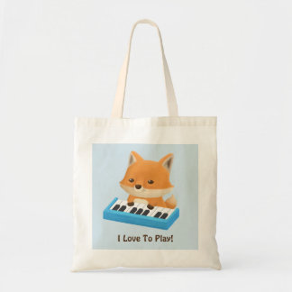 Little Fox Loves to Play Piano Kids Tote Bag