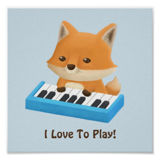 Little Fox Loves to Play Piano Lesson Poster