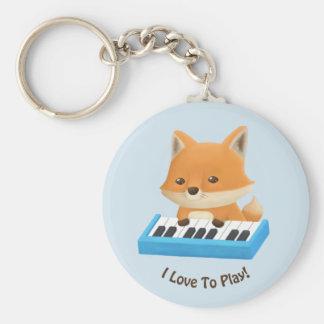 Little Fox on the Piano Kids Keychain