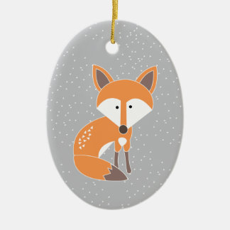 Little Fox Double-Sided Oval Ceramic Christmas Ornament