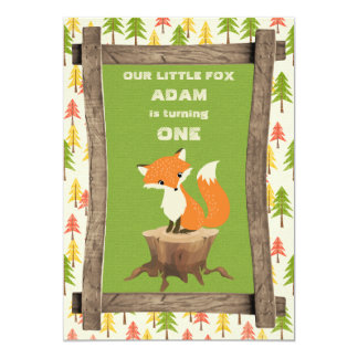 Little Fox Rustic Birthday Party Celebration Card